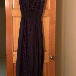 Athleta Strapless Navy Dress